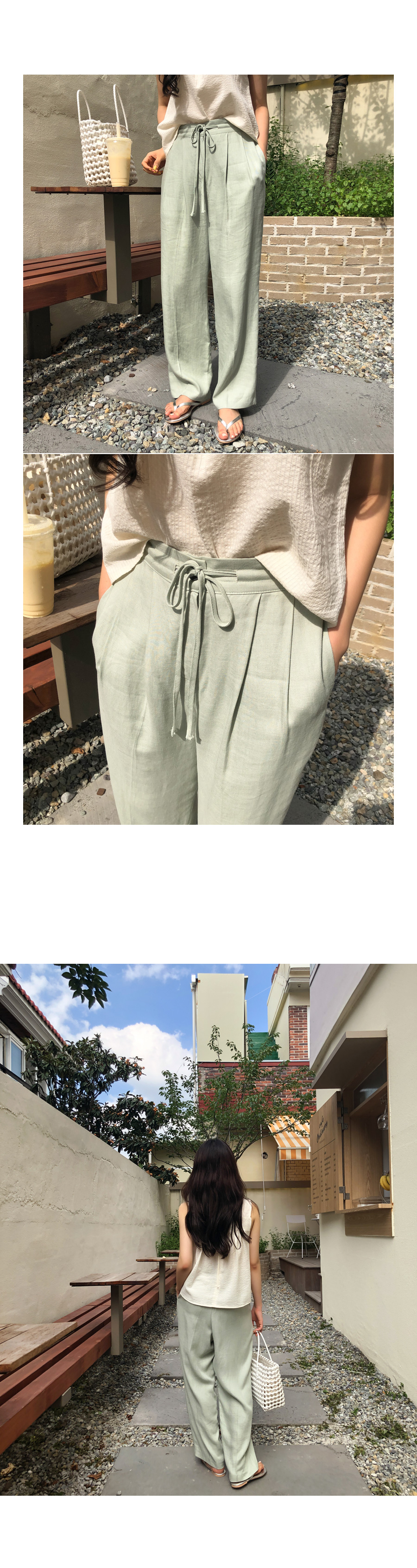 Tencel wide pants mint