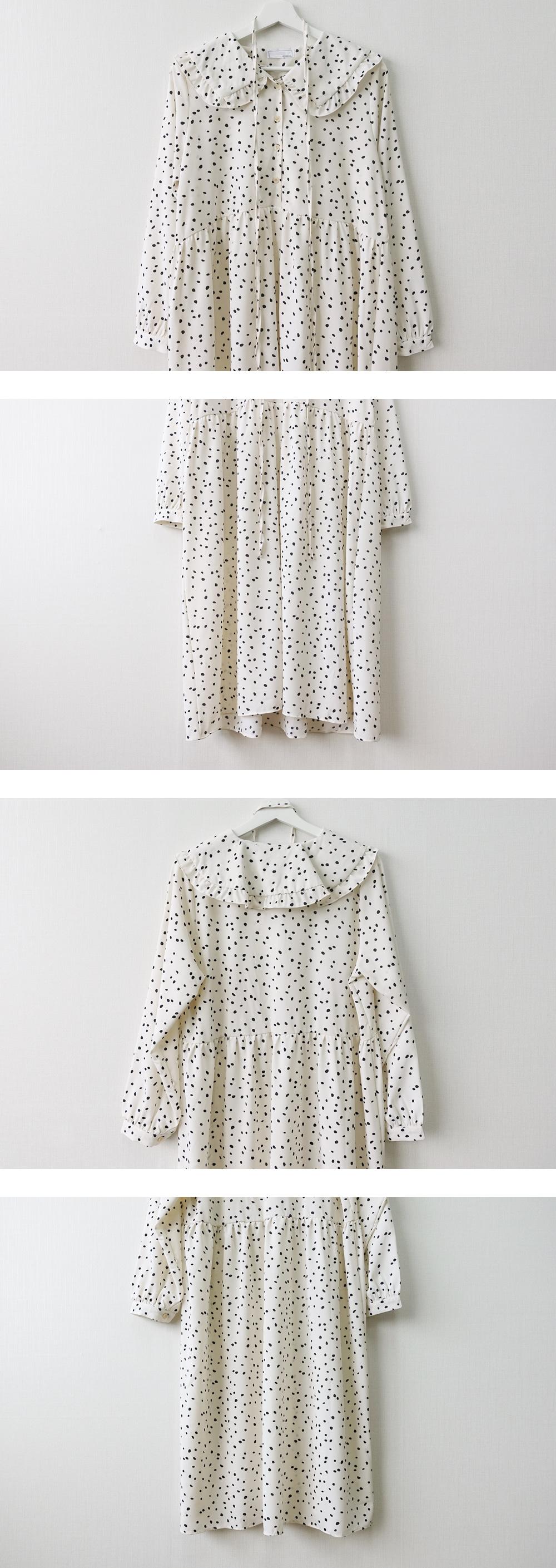 Long-sleeved dress with frills black dot