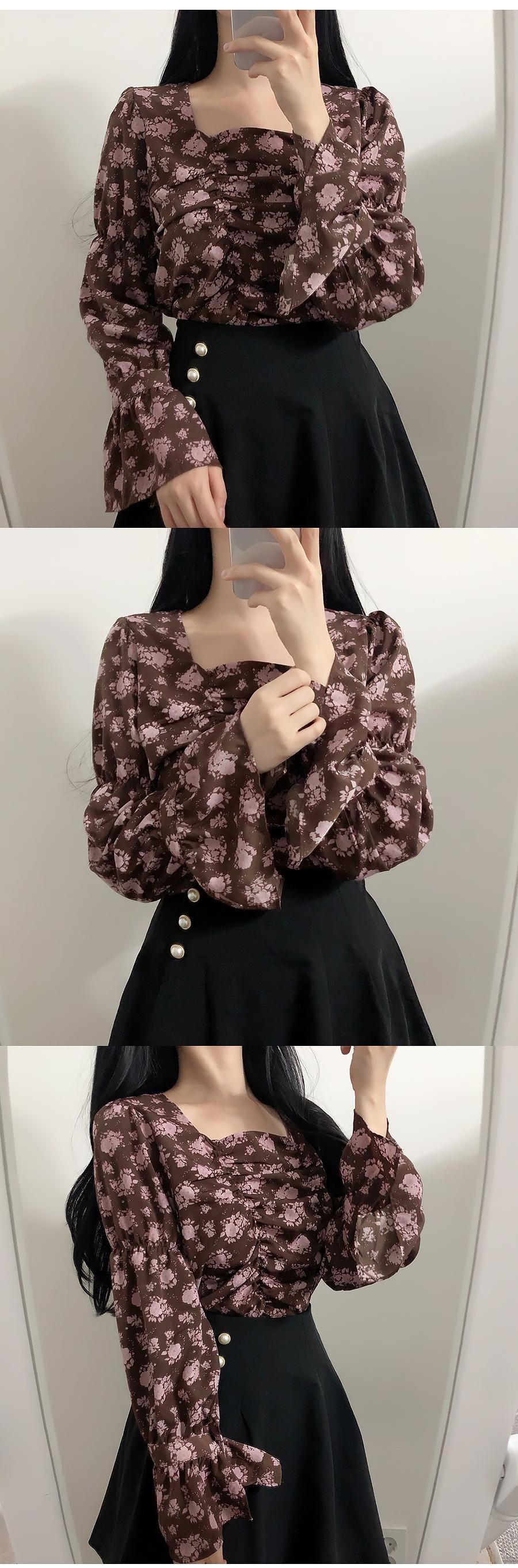 Brownie shirring flower blouse