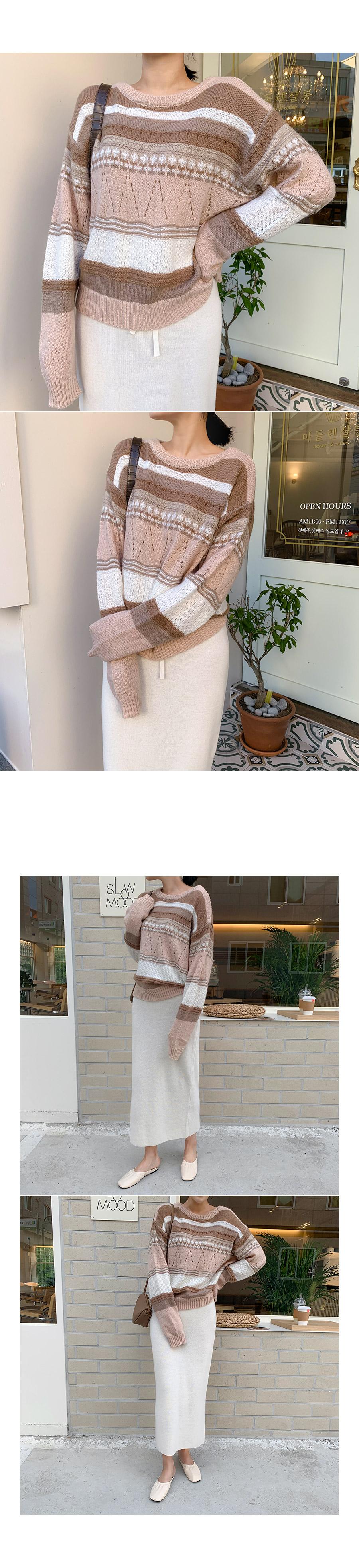 Plain color knit pink