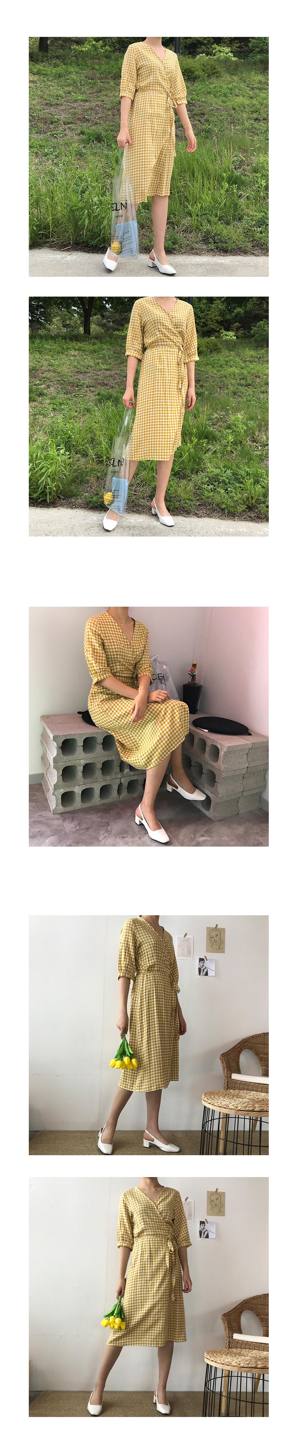 Lemon Checked Wrap Dress - 2color