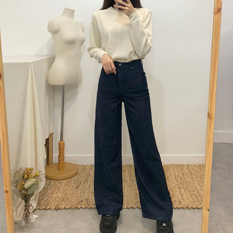 Doc Jean High Waist Denim Boot Cut Pants