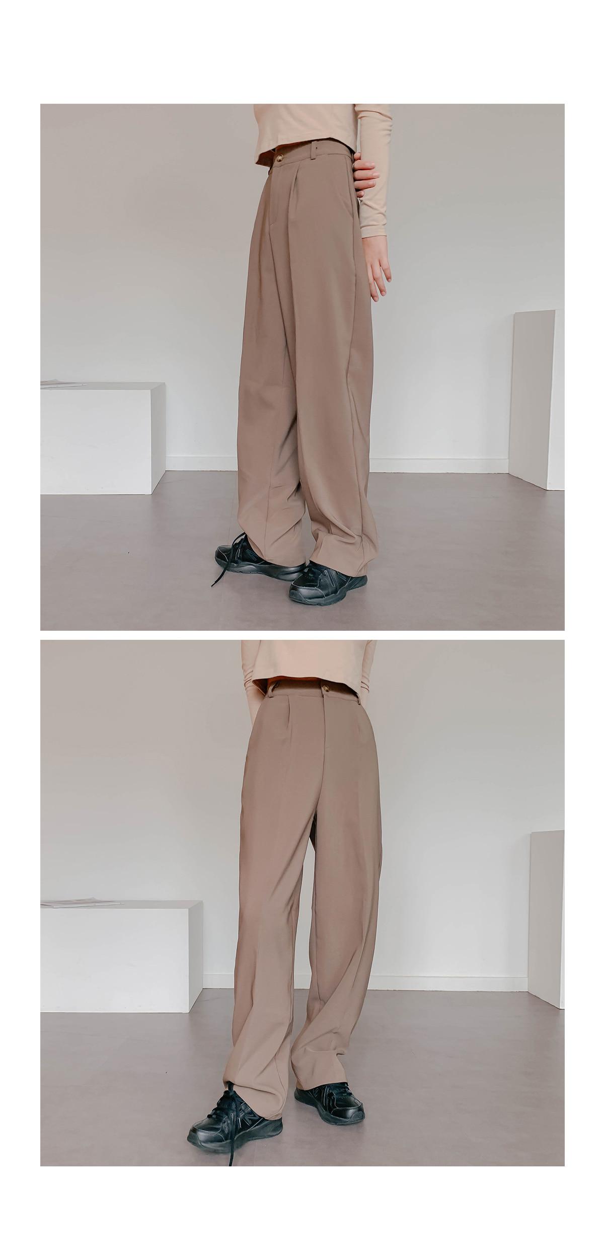 Pin Tuck Wide Boa Slacks Pants