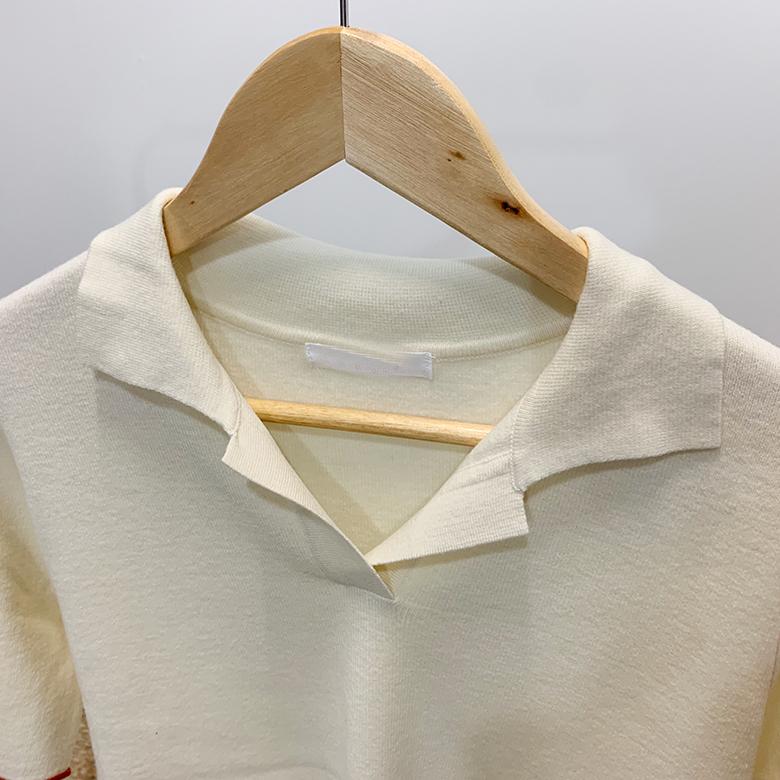 Rachel color line open collar knit