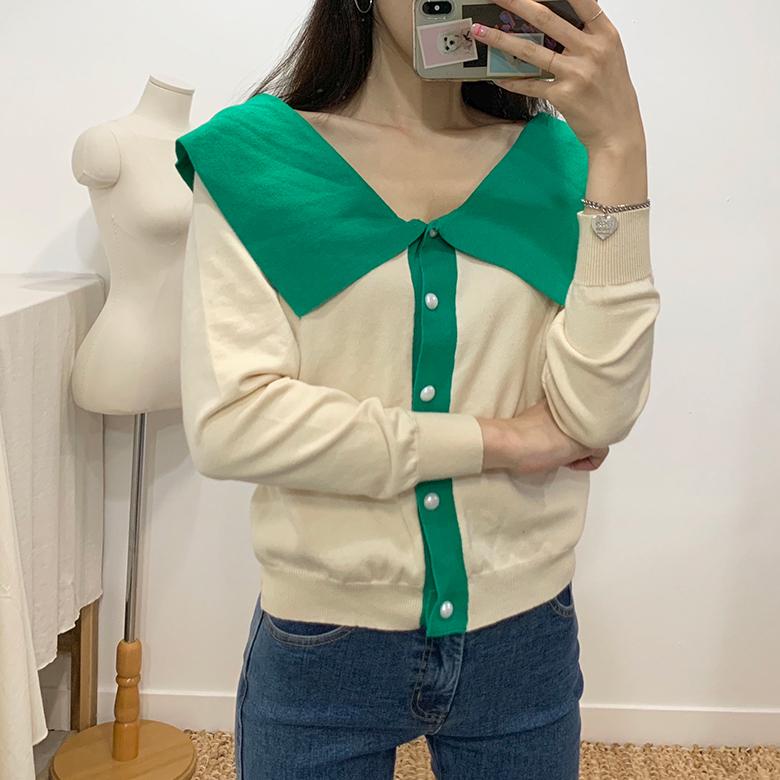 Isla Pearl Color Collar Knit