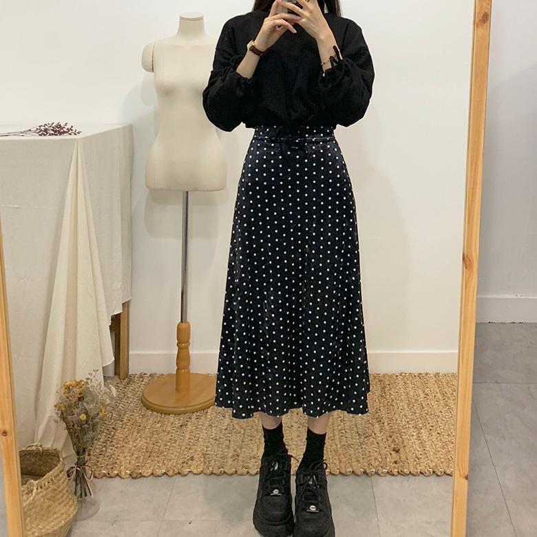 Verden Velvet Dot Flared Long Skirt