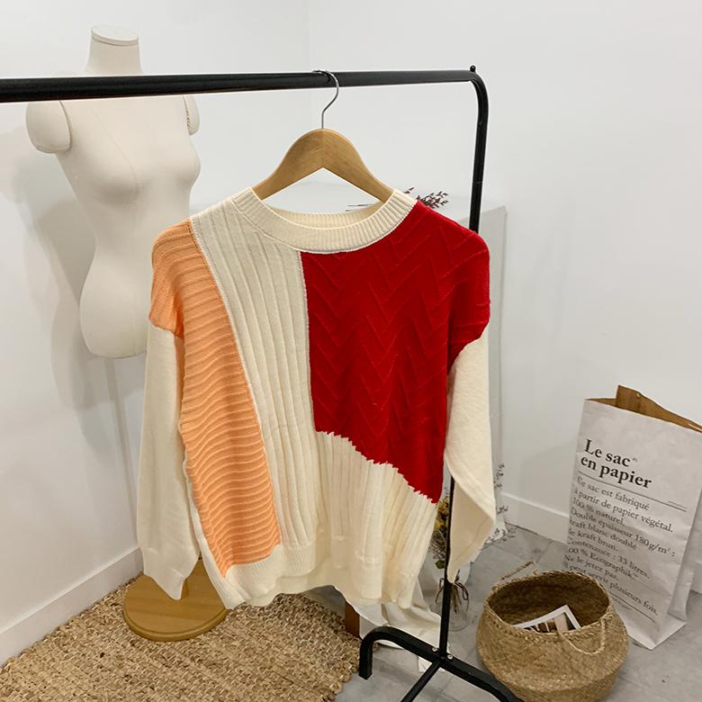 Encro square color round knit