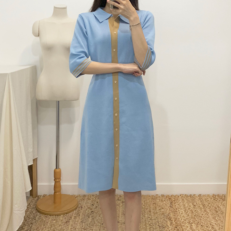Aileen color collar knit long dress