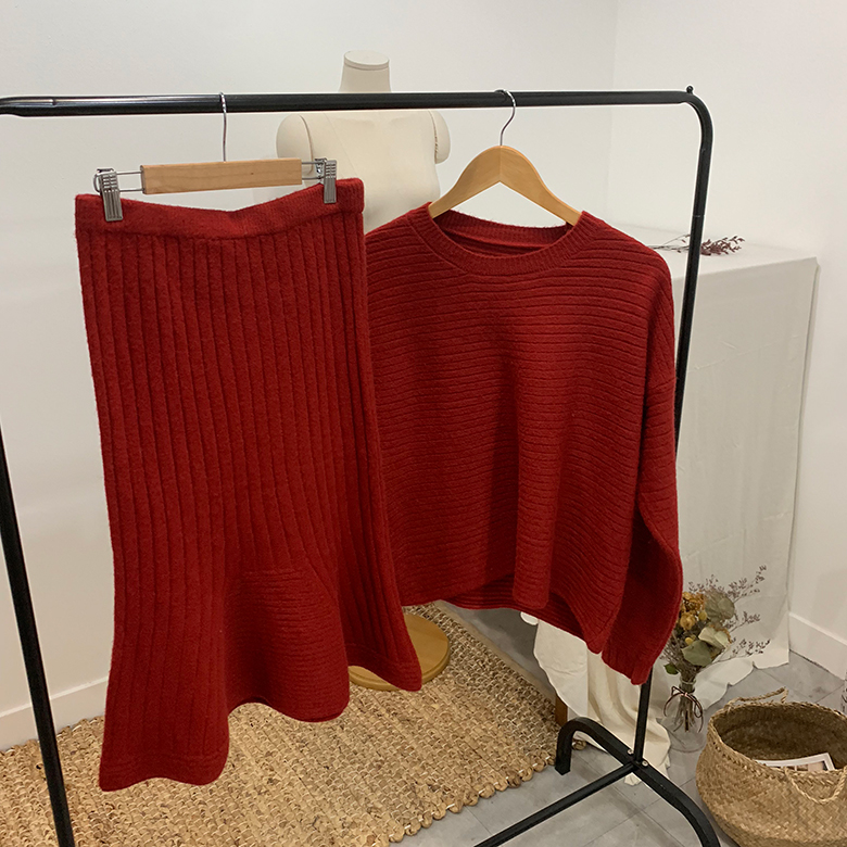 Cherry Mermaid Knit Two Piece SET
