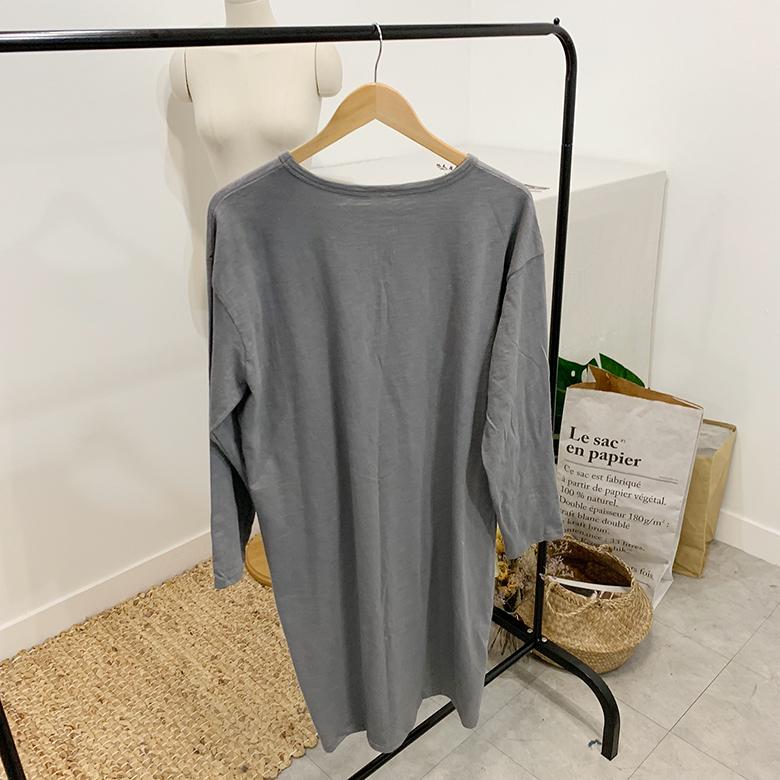 New York printing long T-shirt dress