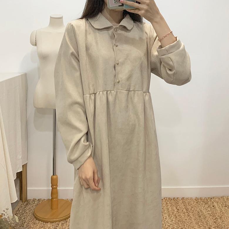 Love-in round collar long dress