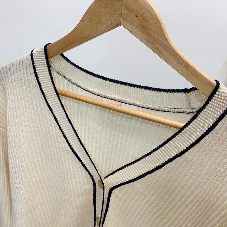 Edelin v neck ribbed knit cardigan