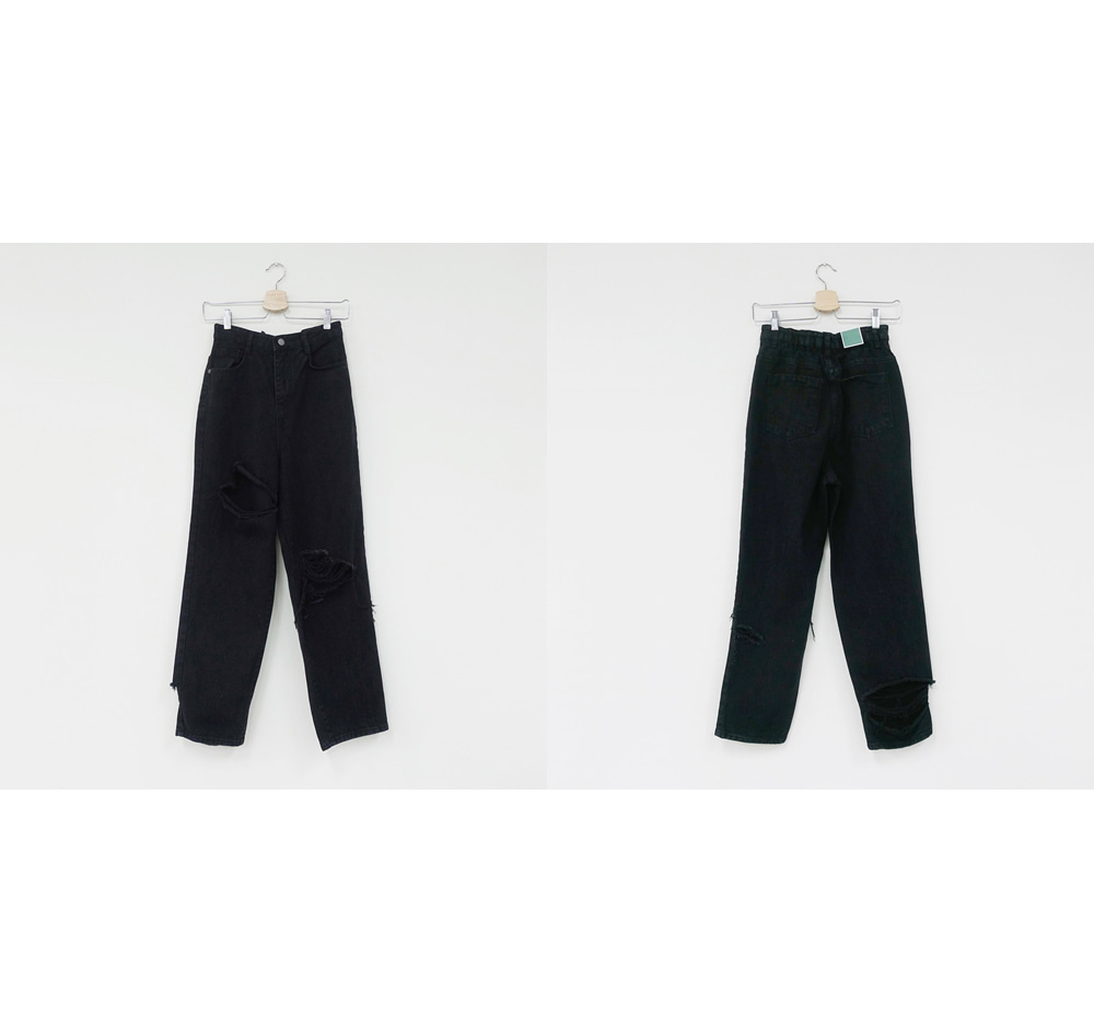 Black Exhaust Damage Roll-Up Pants
