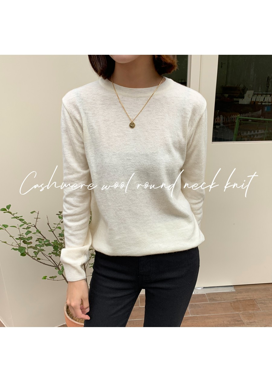 Cashmere wool round neck knit