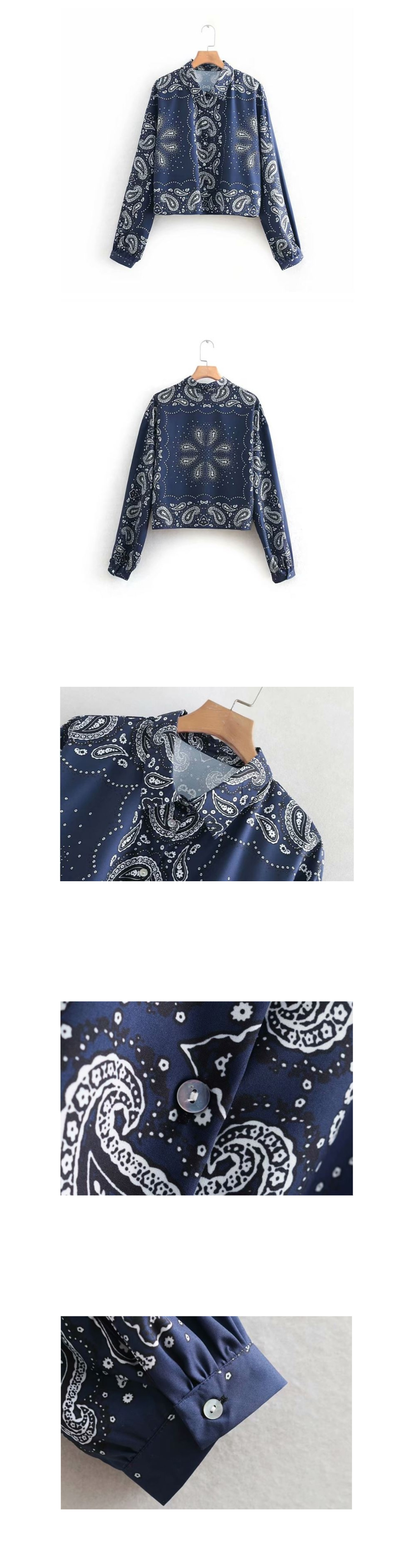 Navy Paisley Crop Shirt _bl03058