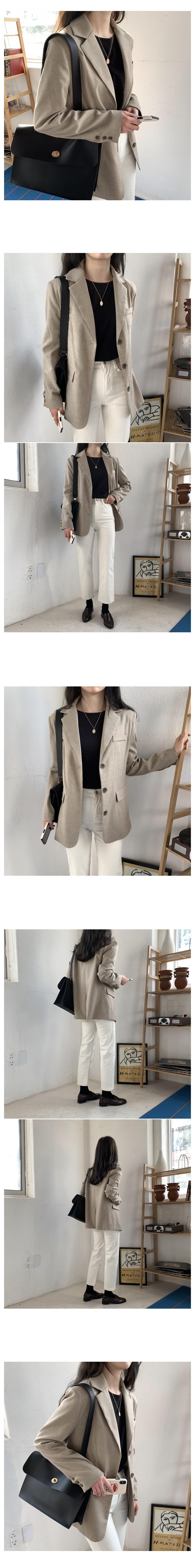 Rank Check Single Jacket-Light Beige