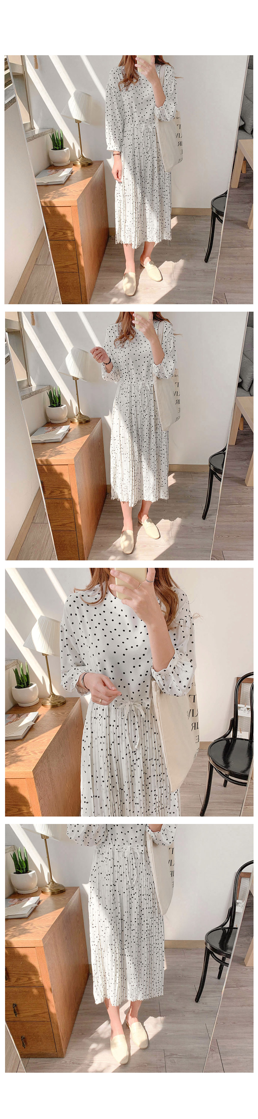 Thanksgiving Sale Round Neck Dot Pleated Long ops-2color