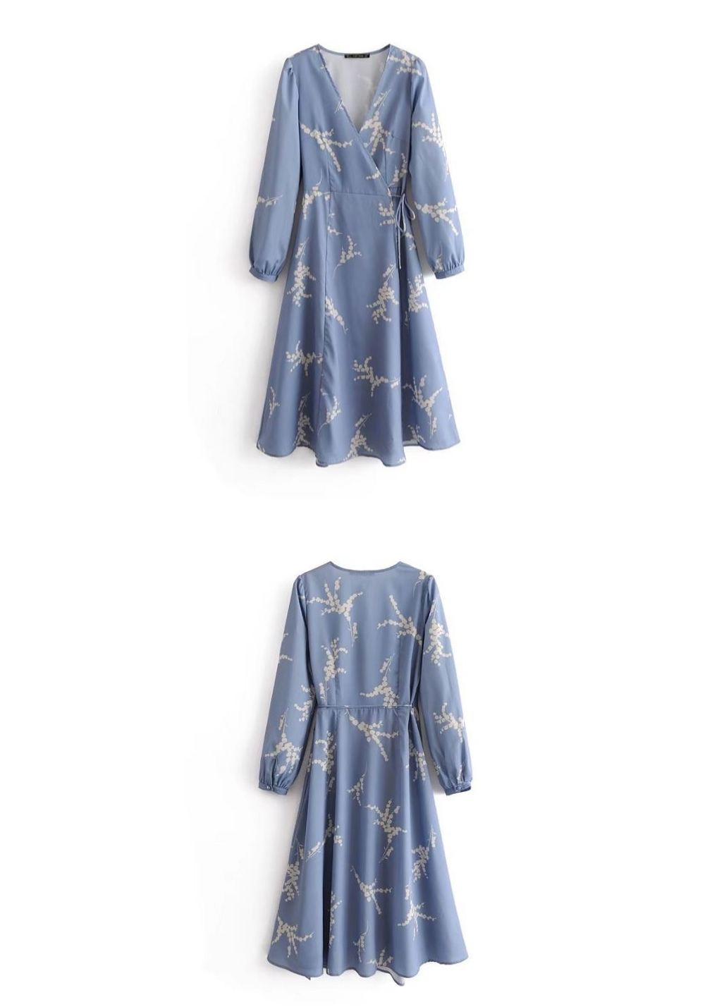 Leaf printing lap dress _op02962