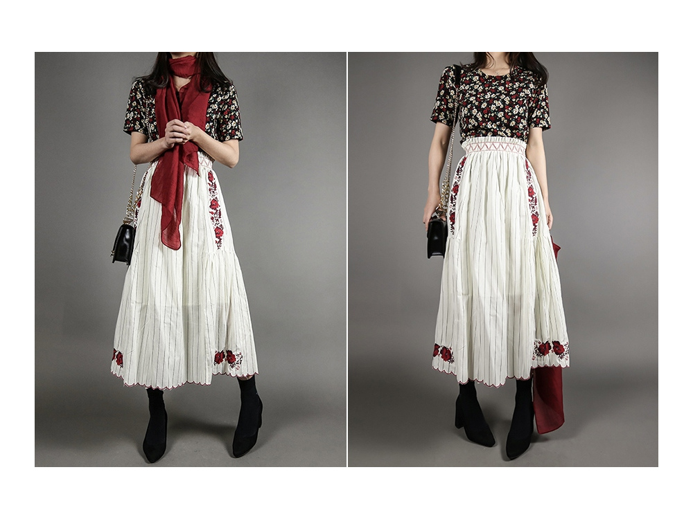 Red flower embroidery skirt _sk03059