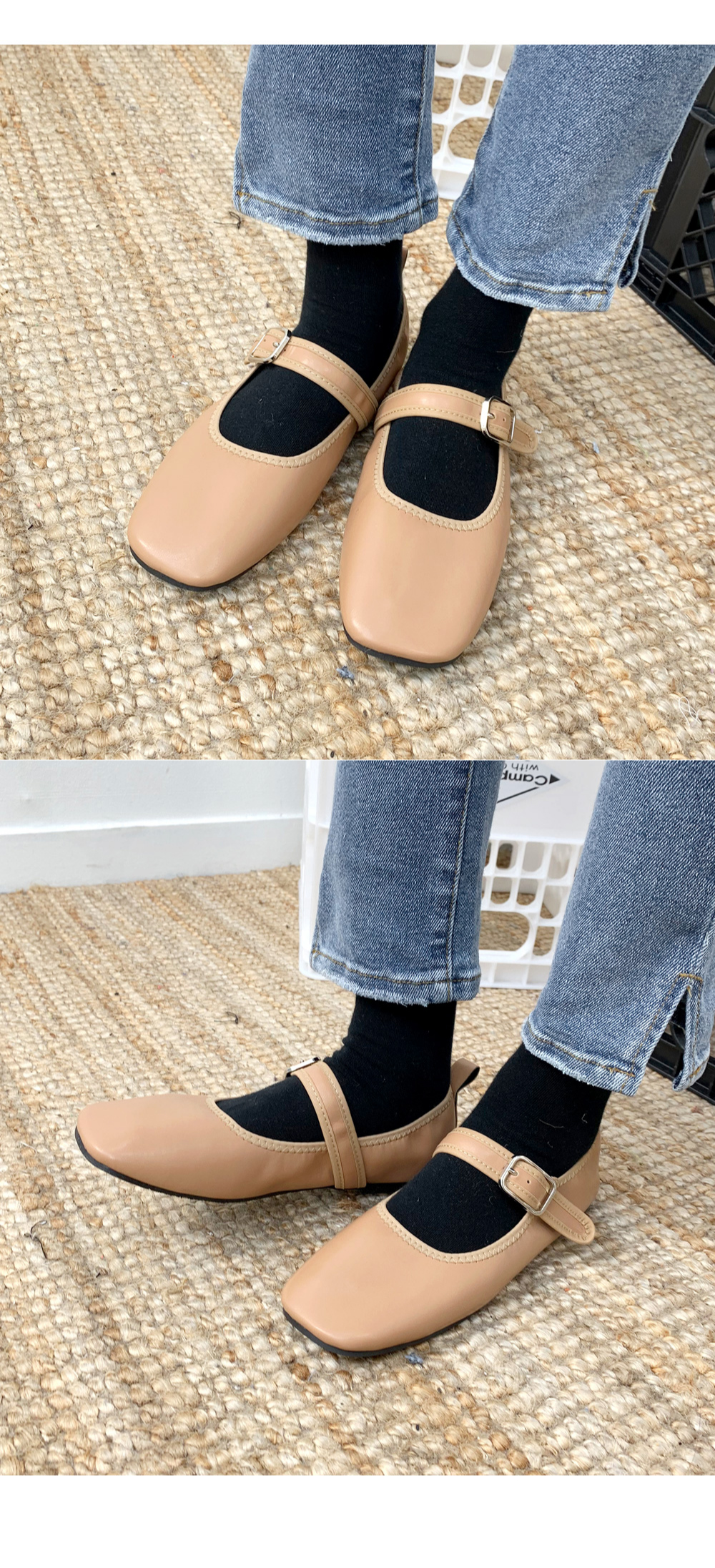 Square Bending Flat Shoes