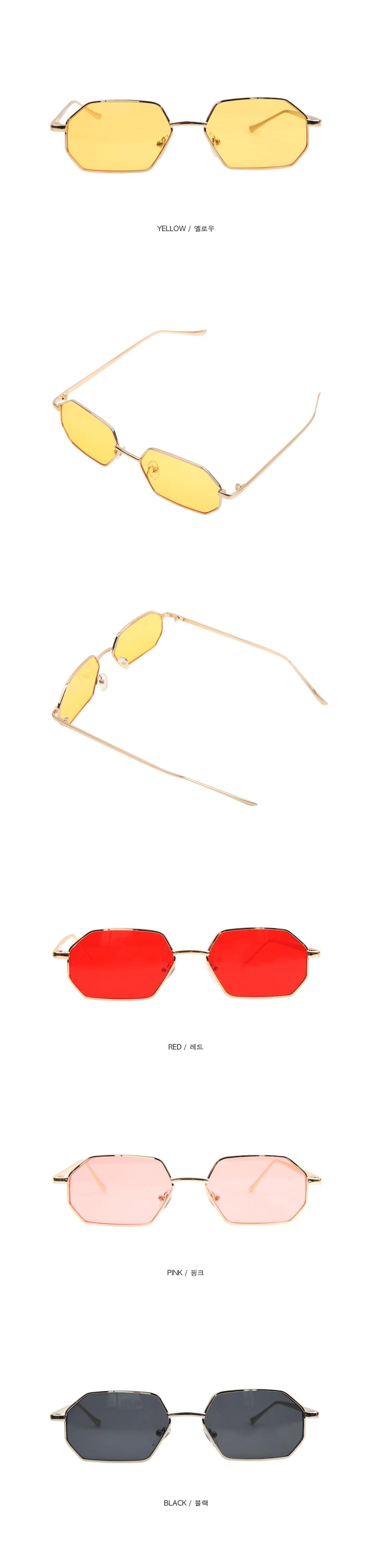 hexagon gold frame sunglasses (4 color)