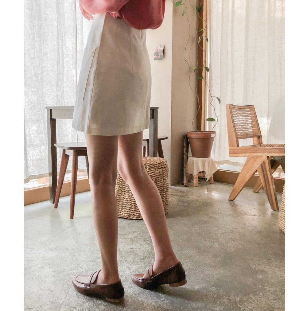 A-line front button mini skirt