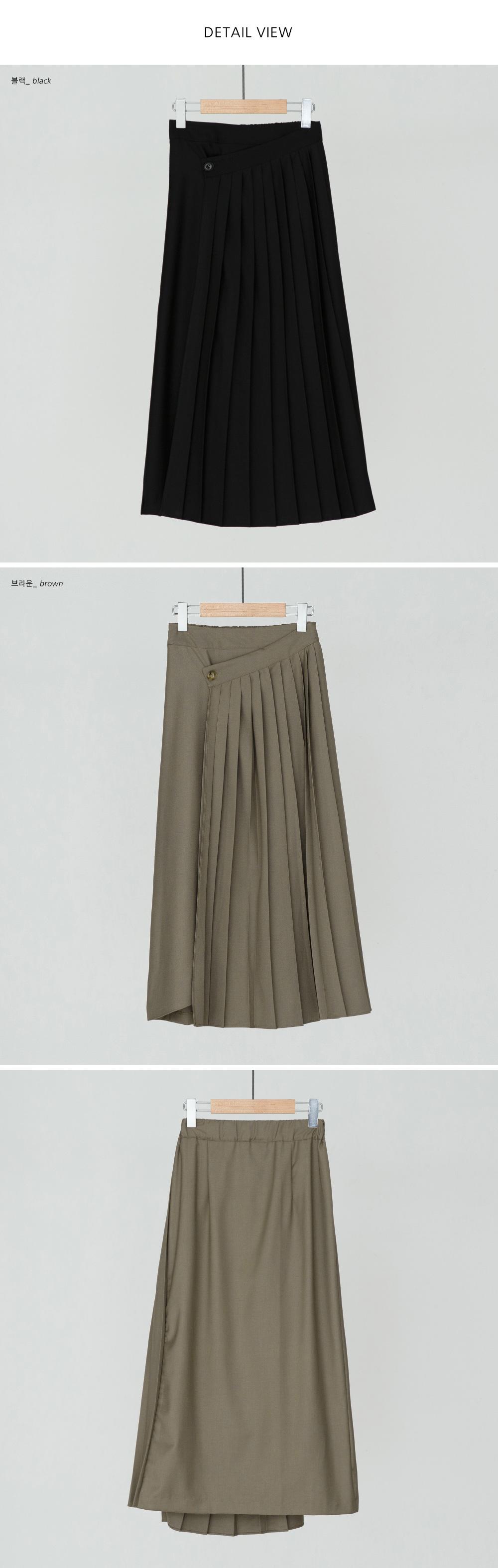 Unbalanced Pleats Wrap Long Skirt-sk