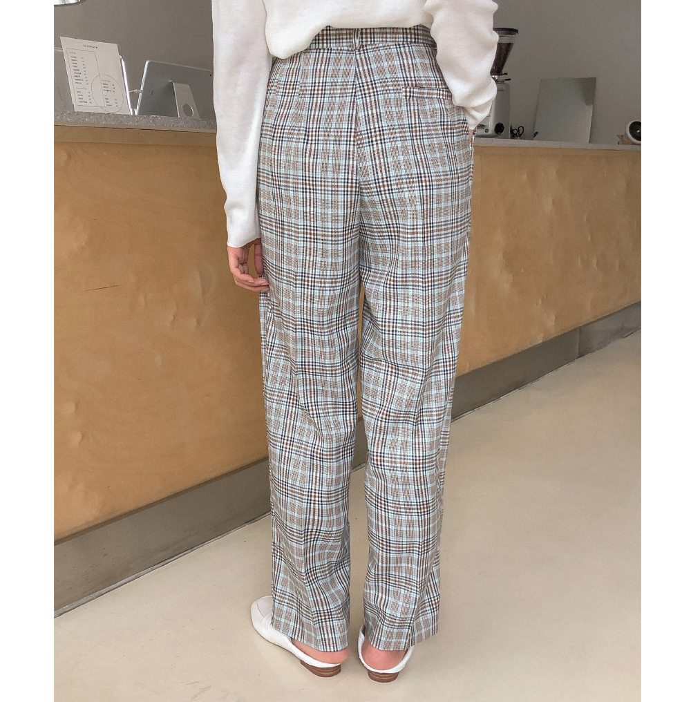 Vintage check pin tuck pants