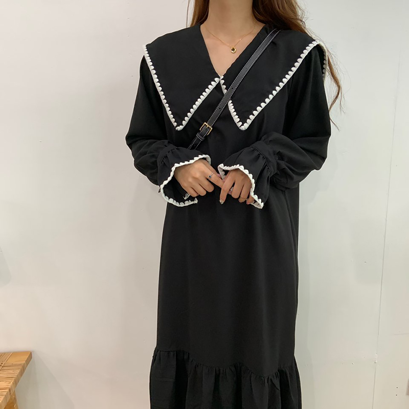Loose fit Biccara embroidered ruffle long dress