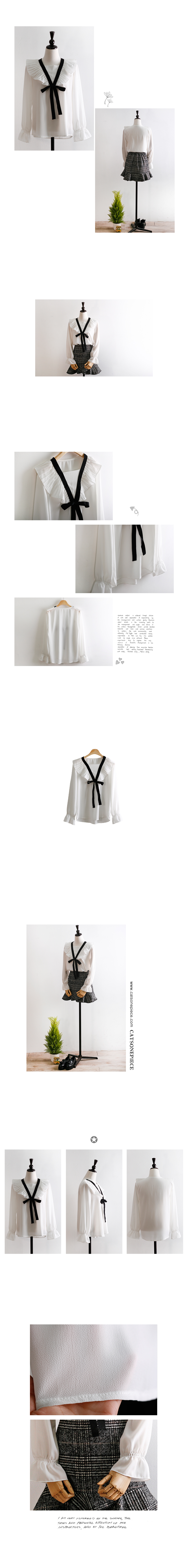 Chiffon pleated ribbon blouse