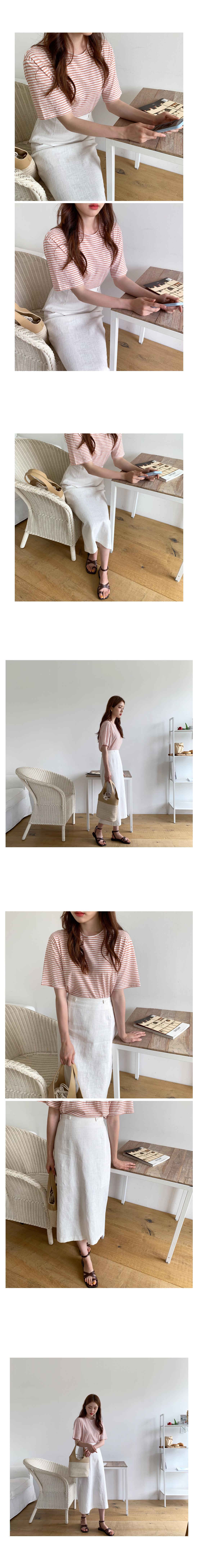 Clip Linen Long Skirt-Apricot