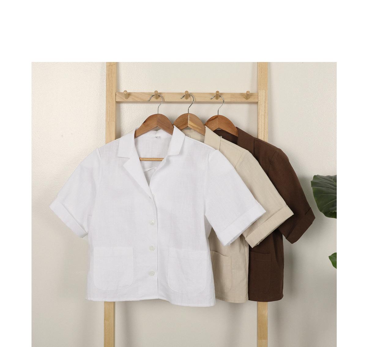 Home linen crop shirt jacket