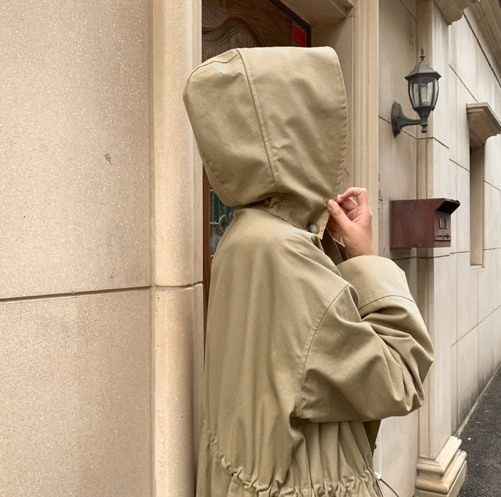 A-line hooded trench coat-ct