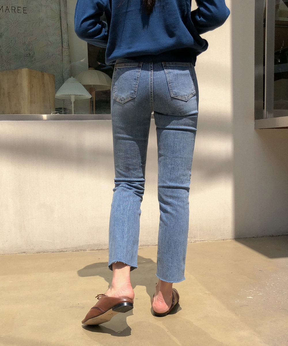 Hem-cutting slim straight fit pants