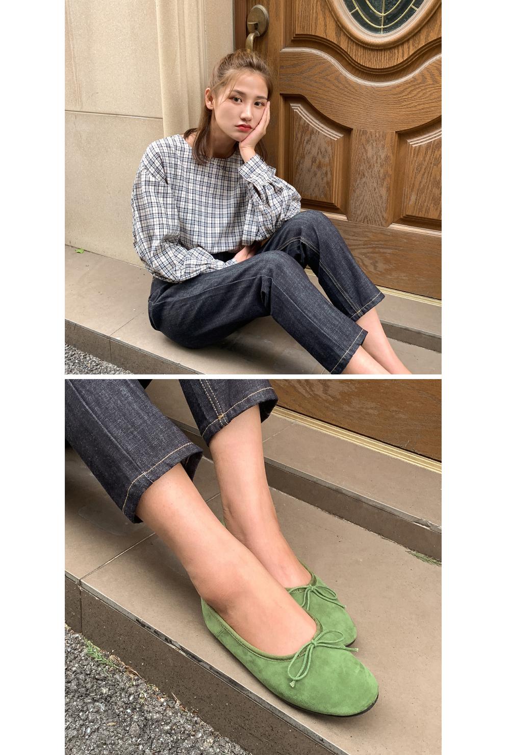 girlish ribbon flat shoes