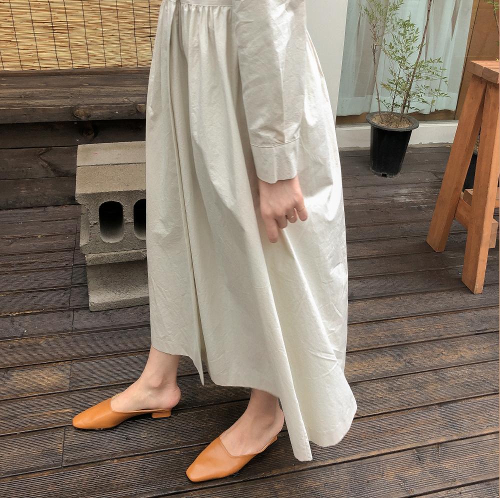 Ladyish shirring v-neck ops shirring v neck long dress