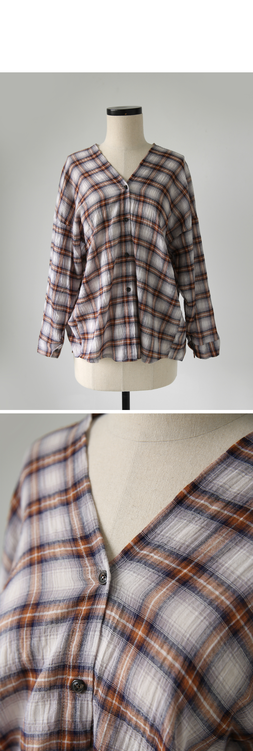 Jadick front and back V-neck check shirt