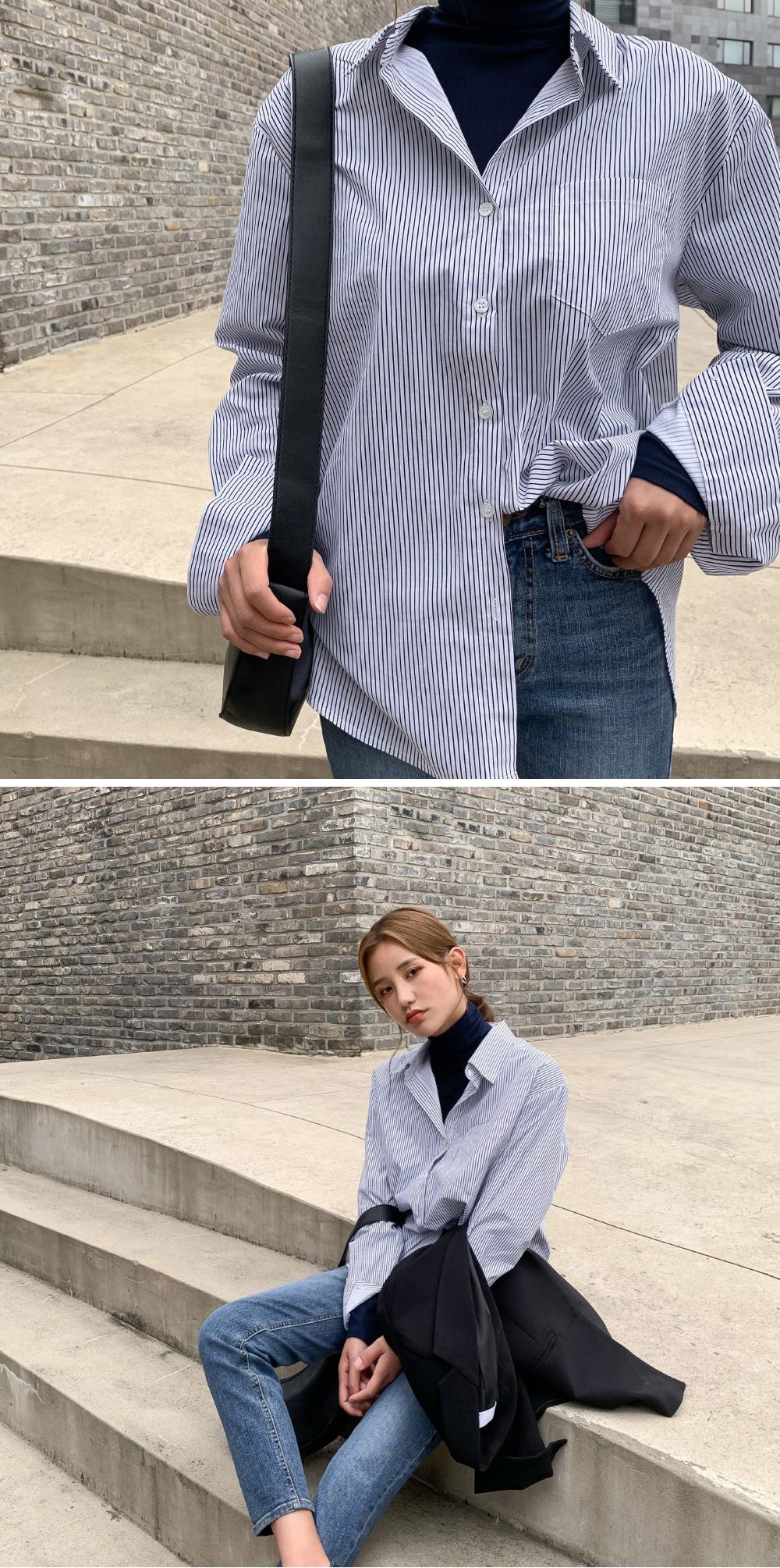 basic unbalance stripe shirts