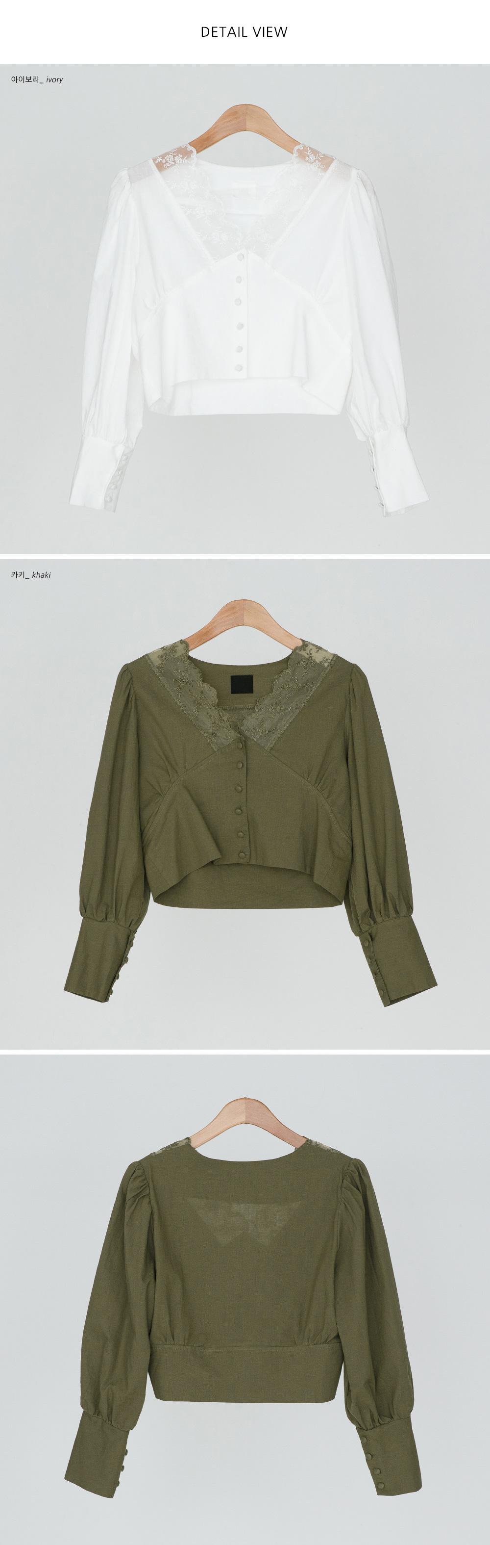 Feminine lace crop blouse-bl