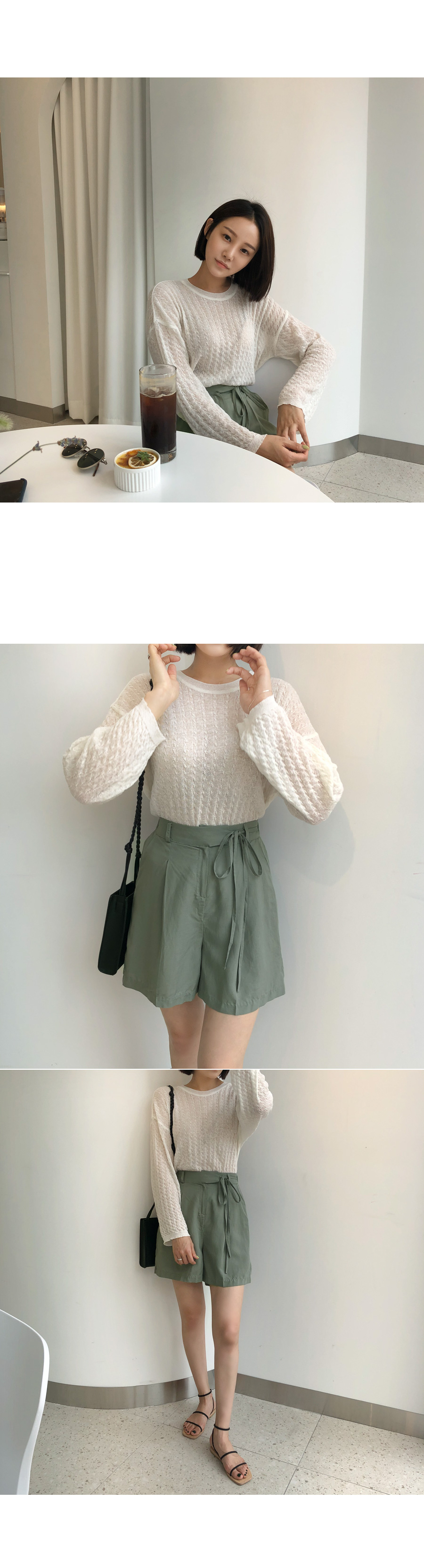 Pintuck linen short pants beige