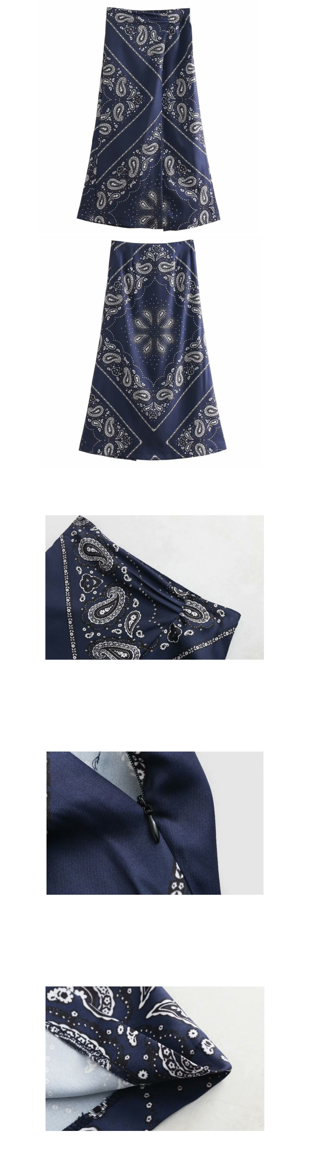 Navy paisley top long skirt _sk03058