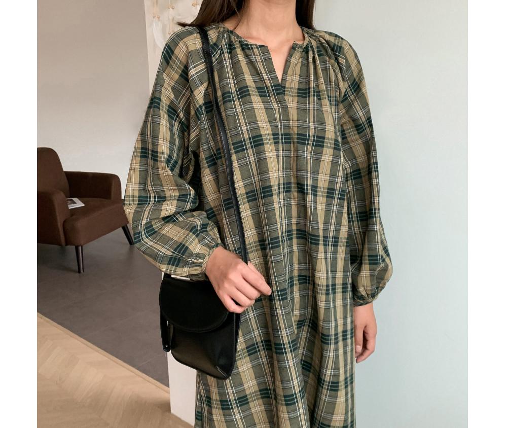 Vintage Check Long Dress-ops