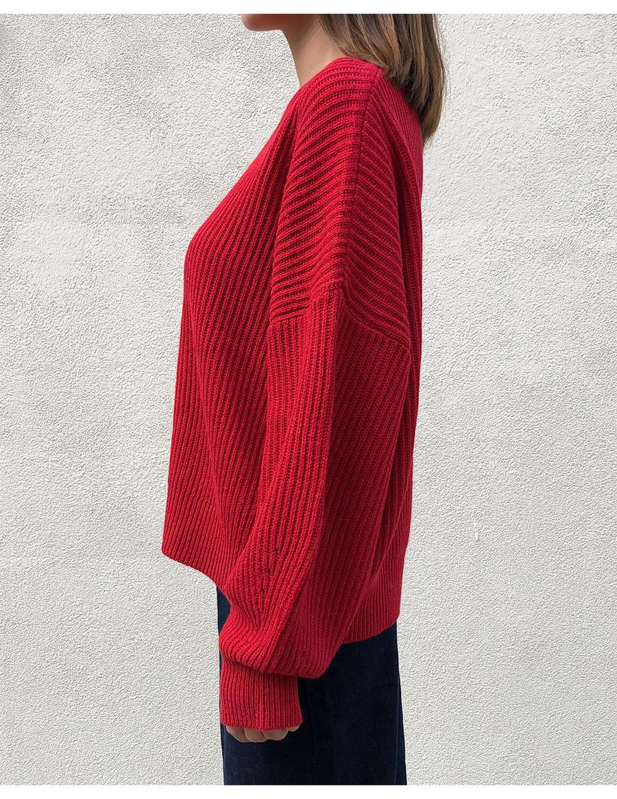 Drop Shoulder Round Neck Knit