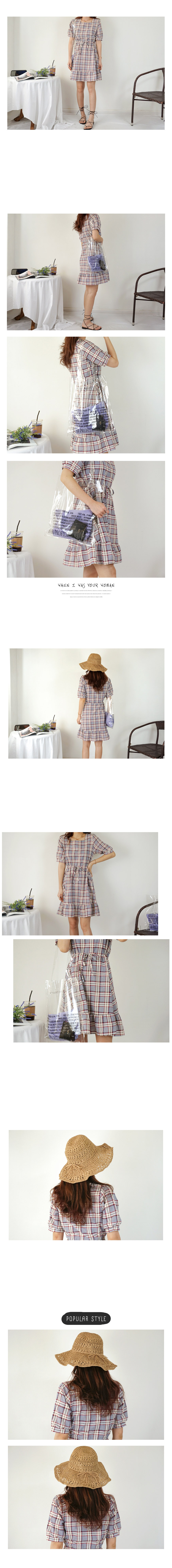 Ribbon Strap Check Ruffle Midi Long Square Dress 2color
