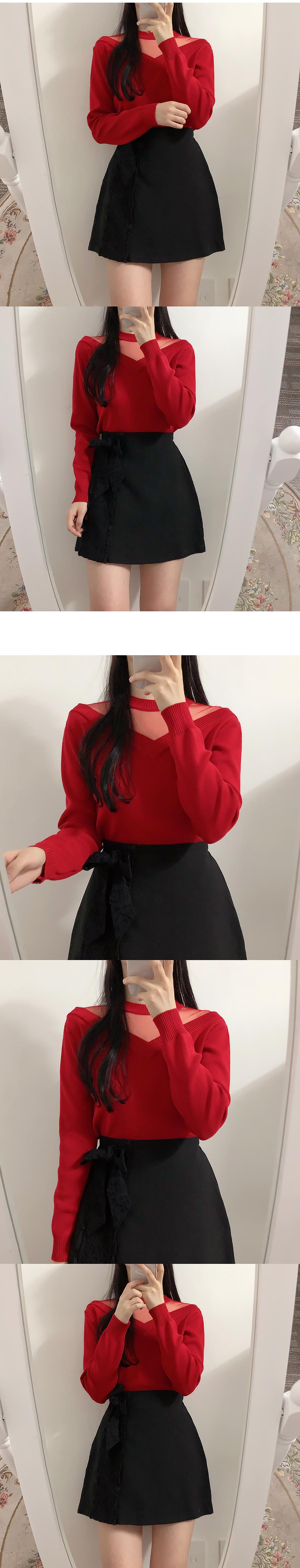 Zeny lace ribbon skirt pants