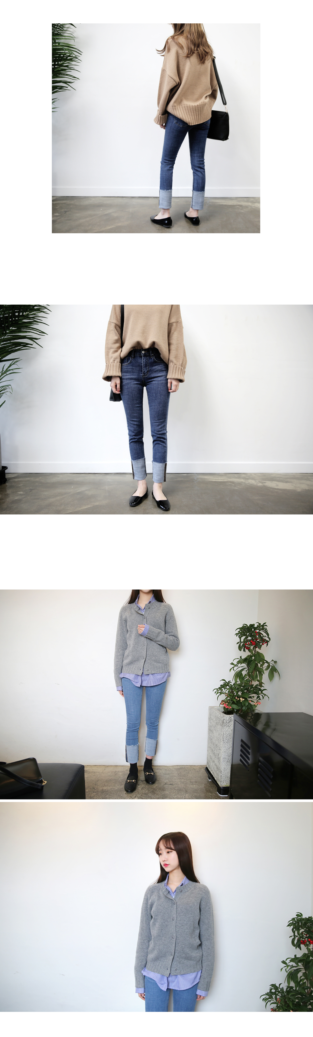 Denim roll-up denim pants - lily size L