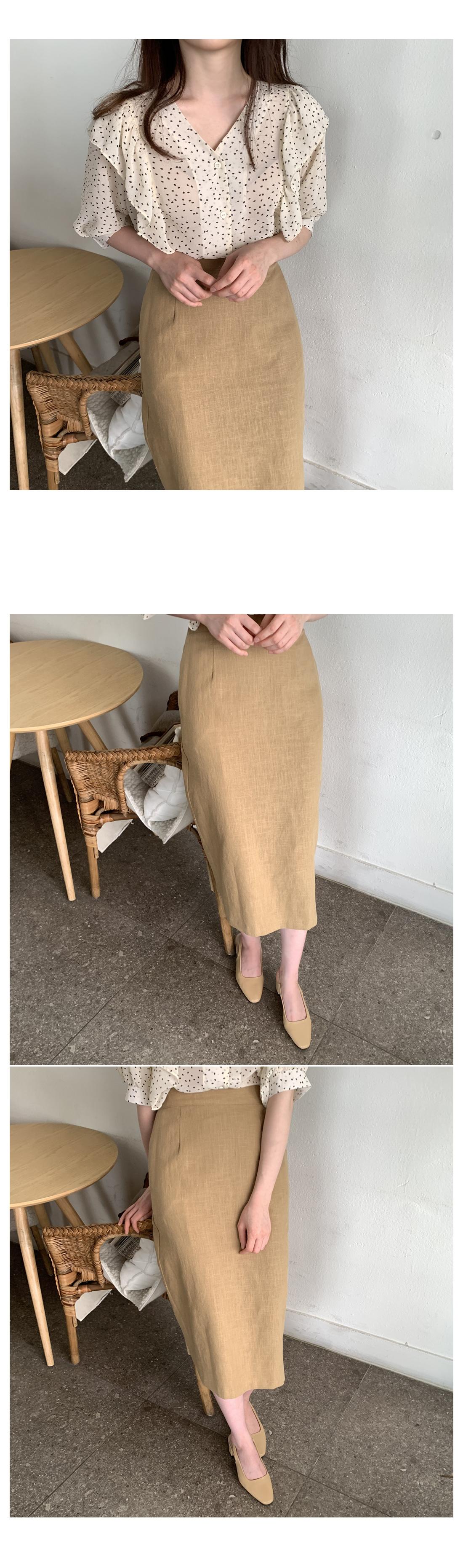 Bliss Linen Long Skirt-Jean Beige, Navy