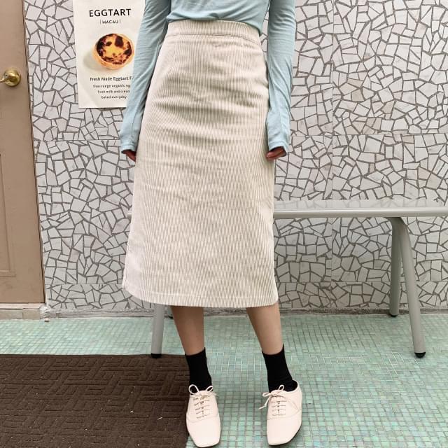 Daily Banding Corduroy Skirt-sk