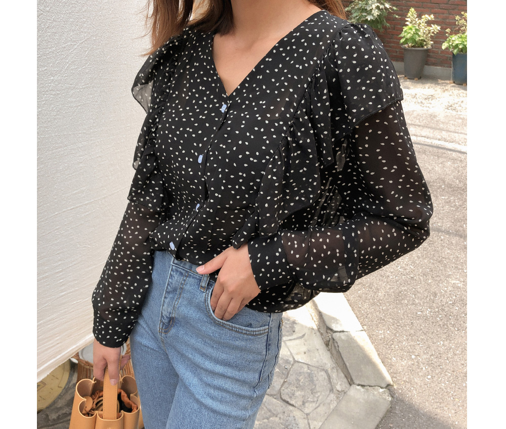 dot v-neck frill blouse