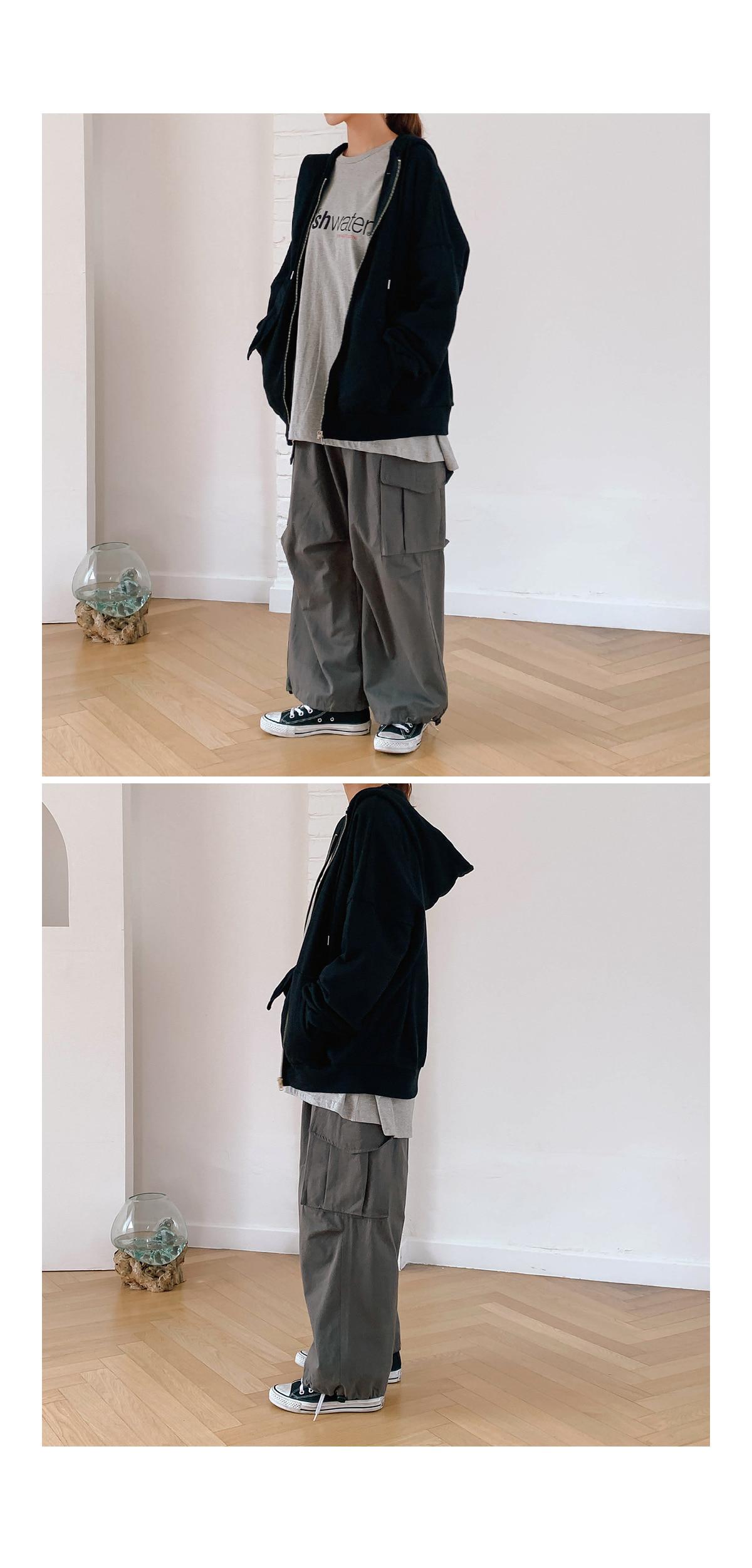 Overfit Iden Hood Zip-up